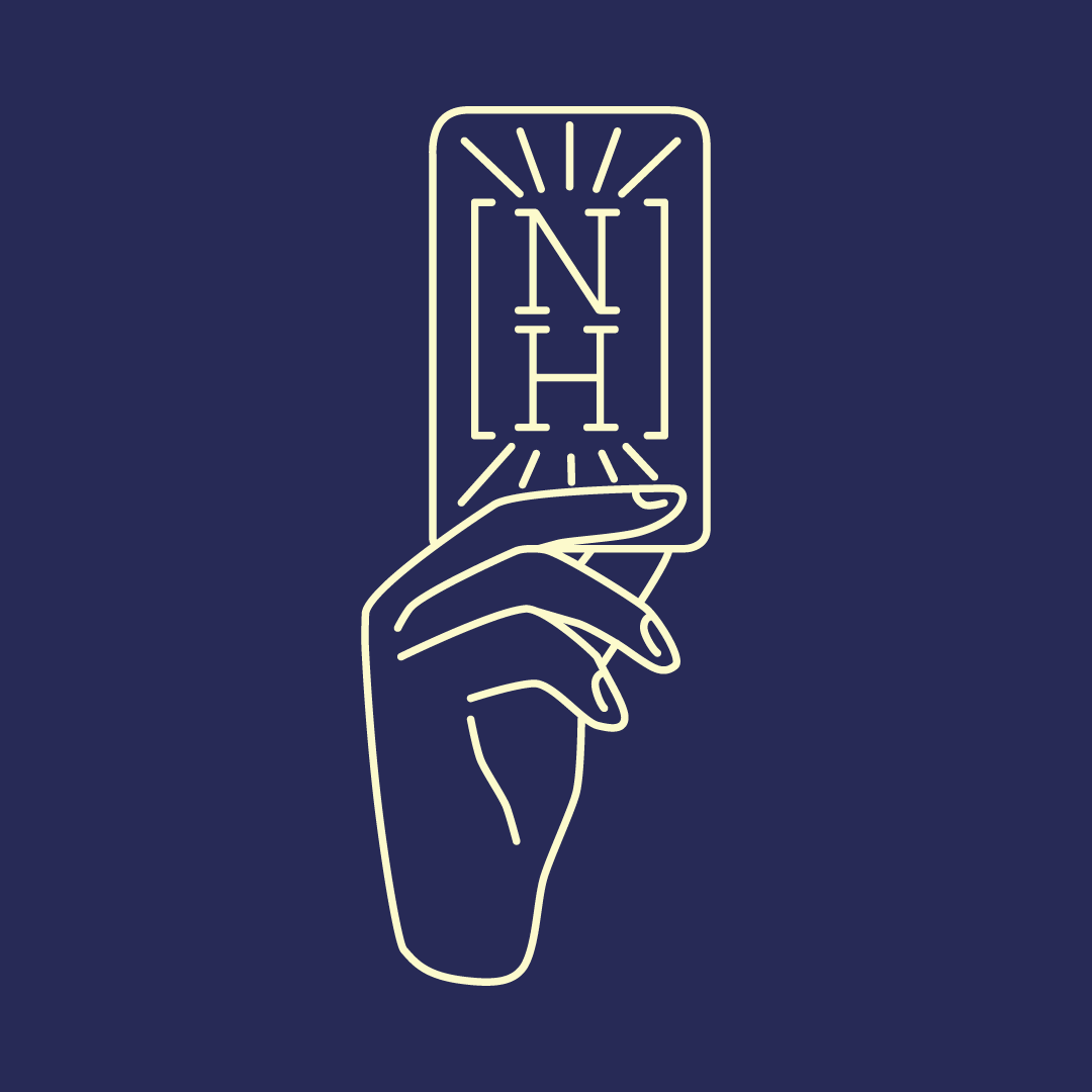 design of a hand holding up a card emblazoned with the initials NH